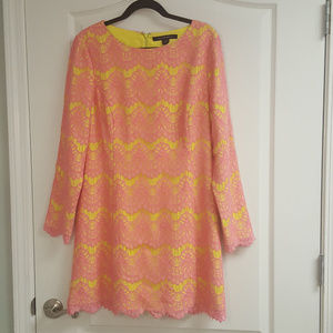 French Connection Pink Yellow Lace Dress